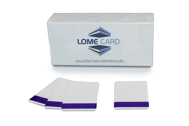 cartão de pvc com tarja magnética roxa